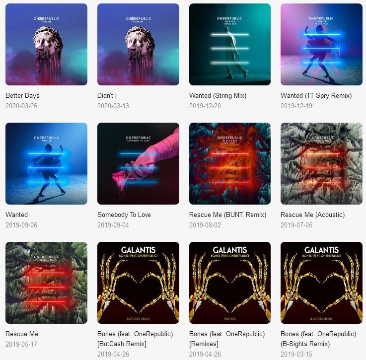 OneRepublic《共74张音乐专辑(2007-2020)》打包合辑mp3版-百度网盘下载-江城亦梦